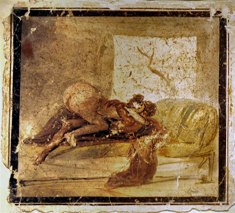 & Erotic wall painting from Pompeii (VII 9 33).